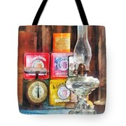Hurricane Lamp and Scale Tote Bag by Susan Savad