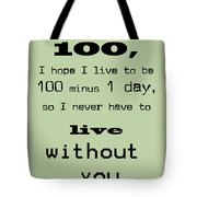 If You Live To Be 100 - Green Tote Bag by Georgia Fowler