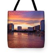 Jacksonville Skyline At Dusk Tote Bag by Debra and Dave Vanderlaan