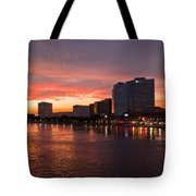 Jacksonville Skyline Night Tote Bag by Debra and Dave Vanderlaan