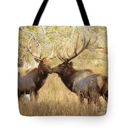 Junior Meets Bull Elk Tote Bag by Robert Frederick
