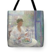 Lady Reading At An Open Window  Tote Bag by Clementine Helene Dufau