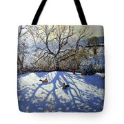 Large Tree And Tobogganers Tote Bag by Andrew Macara