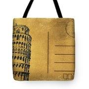 Leaning Tower Of Pisa Postcard Tote Bag by Setsiri Silapasuwanchai