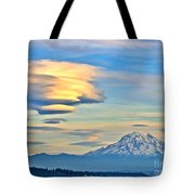Lenticular Cloud And Mount Rainier Tote Bag by Sean Griffin
