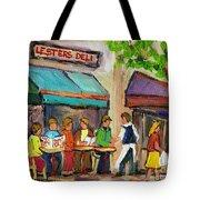 Lester's Deli Montreal Cafe Summer Scene Tote Bag by Carole Spandau