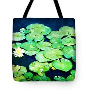 Lily Pads And Lotus Tote Bag by Tammy Wetzel