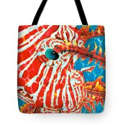 Lion Fish Face Tote Bag by Daniel Jean-Baptiste