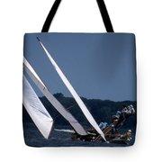 Log Canoe Race Tote Bag by Skip Willits