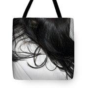 Long dark hair of a woman on white pillow Tote Bag by Matthias Hauser