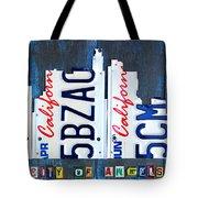 Los Angeles Skyline License Plate Art Tote Bag by Design Turnpike