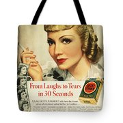Luckys Cigarette Ad, 1938 Tote Bag by Granger