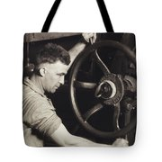 Making Auto Tires Tote Bag by LW Hine