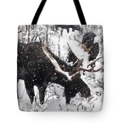 Male Moose Grazing In Snowy Forest Tote Bag by Philippe Henry