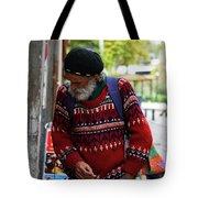Man in a Red Sweater Tote Bag by Lorraine Devon Wilke