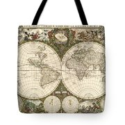 Map Of The World, 1660 Tote Bag by Photo Researchers