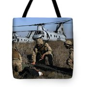 Marines And Sailors Being Transported Tote Bag by Stocktrek Images