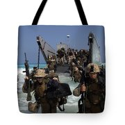 Marines Disembark A Landing Craft Tote Bag by Stocktrek Images