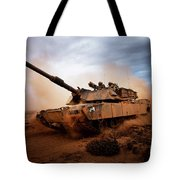 Marines Roll Down A Dirt Road Tote Bag by Stocktrek Images