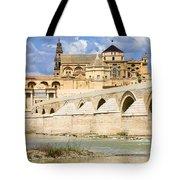 Mezquita Cathedral And Roman Bridge In Cordoba Tote Bag by Artur Bogacki