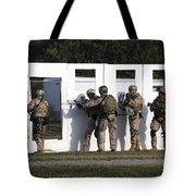 Military Reserve Members Prepare Tote Bag by Michael Wood
