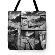 Montage Of Wrecked Boats Tote Bag by Meirion Matthias