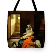 Mother Nursing Her Child Tote Bag by  Pieter de Hooch
