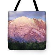 Mount Rainier At Sunrise Mount Rainier Tote Bag by Tim Fitzharris