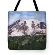 Mount Rainier With Coniferous Forest Tote Bag by Tim Fitzharris
