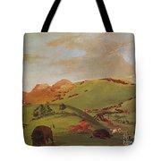 Native American Indians, Buffalo Chase Tote Bag by Photo Researchers