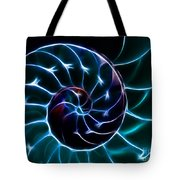 Nautilus Shell - Electric - v2 - Cyan Tote Bag by Wingsdomain Art and Photography