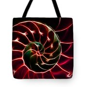 Nautilus Shell - Electric - V2 - Red Tote Bag by Wingsdomain Art and Photography