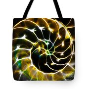 Nautilus Shell Ying and Yang - Electric - v1 - Gold Tote Bag by Wingsdomain Art and Photography
