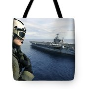Naval Air Crewman Conducts A Visual Tote Bag by Stocktrek Images