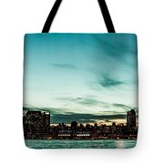 New Yorks Skyline At Night Ice 1 Tote Bag by Hannes Cmarits