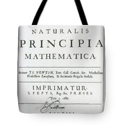 Newtons Principia, Title Page Tote Bag by Science Source