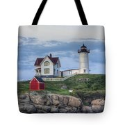 Nubble Light At Dusk Tote Bag by Eric Gendron