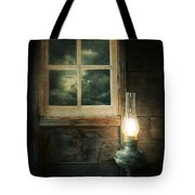 Oil Lamp On Table By Window Tote Bag by Jill Battaglia