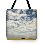Old Abandoned Red Barn In The Midst Tote Bag by Robert Postma