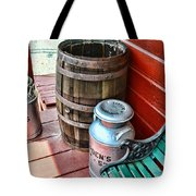 Old Milk Cans And Rain Barrel. Tote Bag by Paul Ward