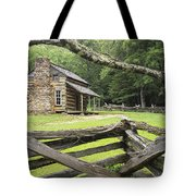 Oliver Cabin In Cade's Cove Tote Bag by Randall Nyhof