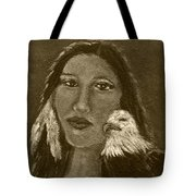Onawa Native American Woman Of Wisdom With Eagle In Sepia Tote Bag by The Art With A Heart By Charlotte Phillips