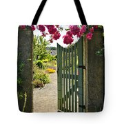 Open Garden Gate With Roses Tote Bag by Elena Elisseeva