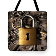 Padlock Over Keys Tote Bag by Carlos Caetano