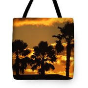 Palm Trees In Sunrise Tote Bag by Susanne Van Hulst