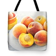 Peaches on plate Tote Bag by Elena Elisseeva