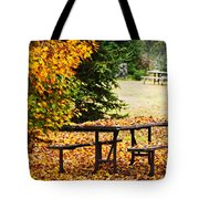 Picnic Table With Autumn Leaves Tote Bag by Elena Elisseeva