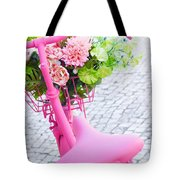 pink bicycle Tote Bag by Carlos Caetano