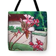Pink Geranium Sketchbook Project Down My Street Tote Bag by Irina Sztukowski