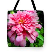 Pink Zinnia Tote Bag by Sandi OReilly